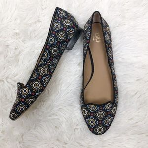 Ann Taylor Black Kaleidoscope Abstract Print Flats